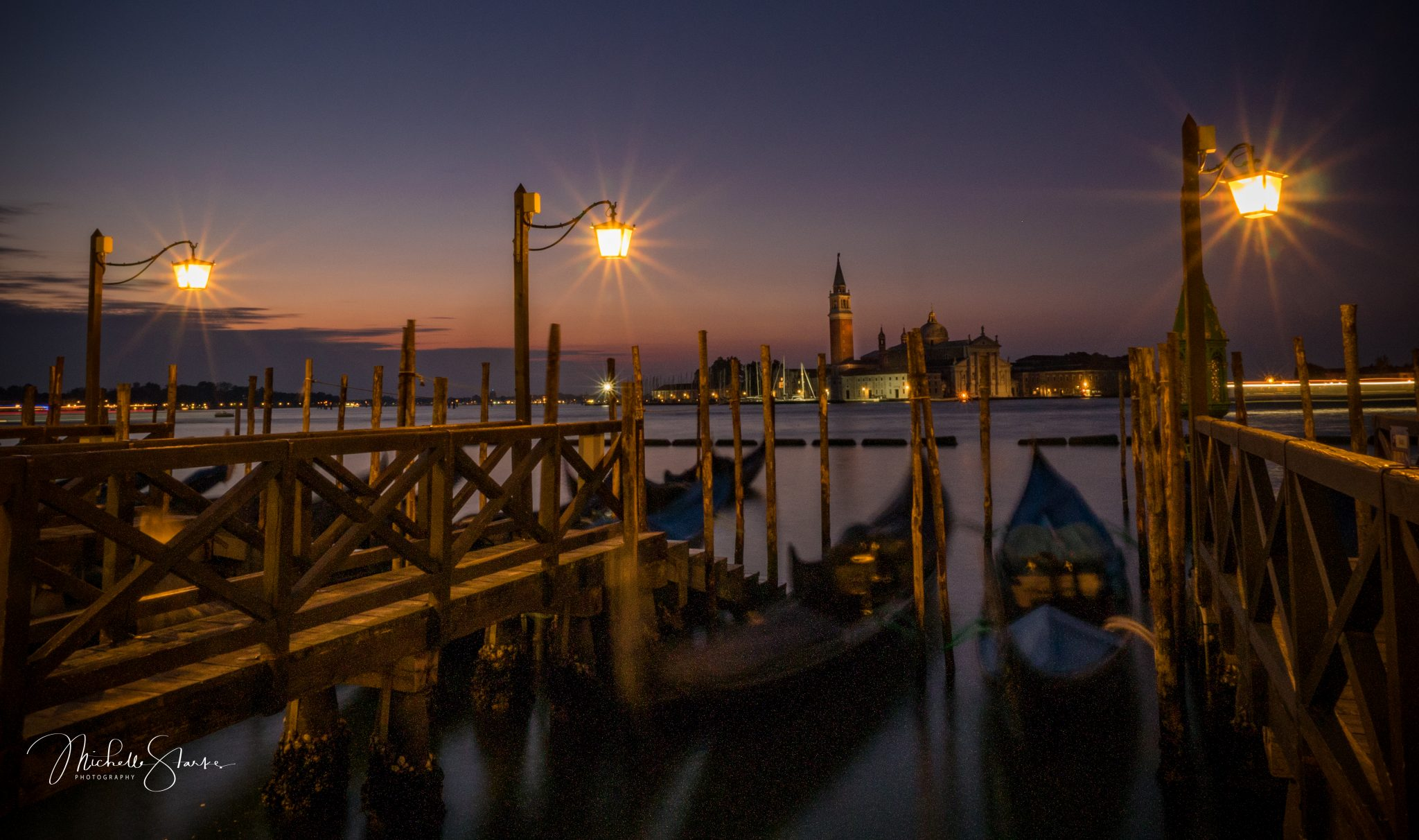 Gondolas in front of the Church of San Giorgio Maggiore, Venice, Italy