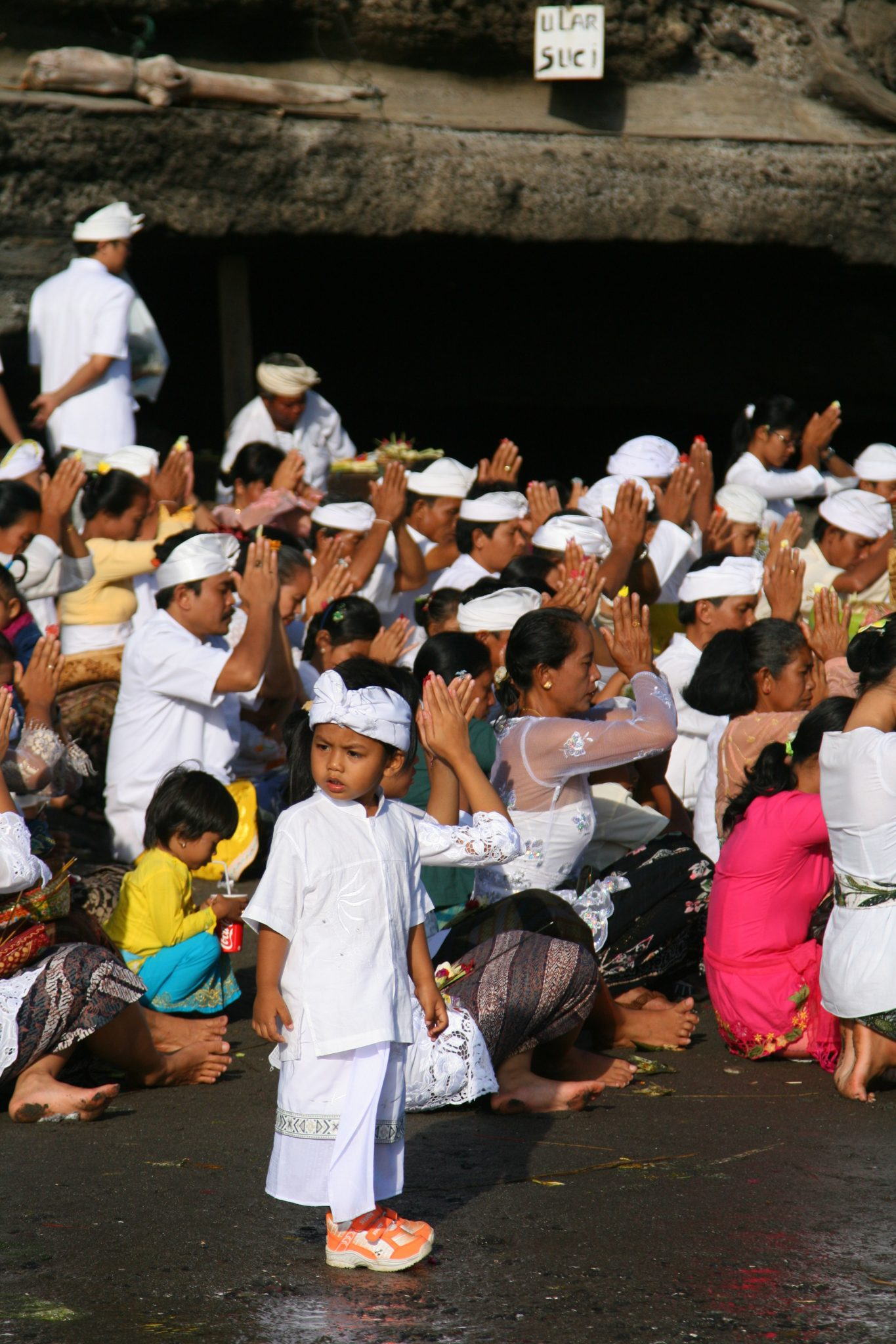 Worship in Tanah Lot, Bali, Indonesia