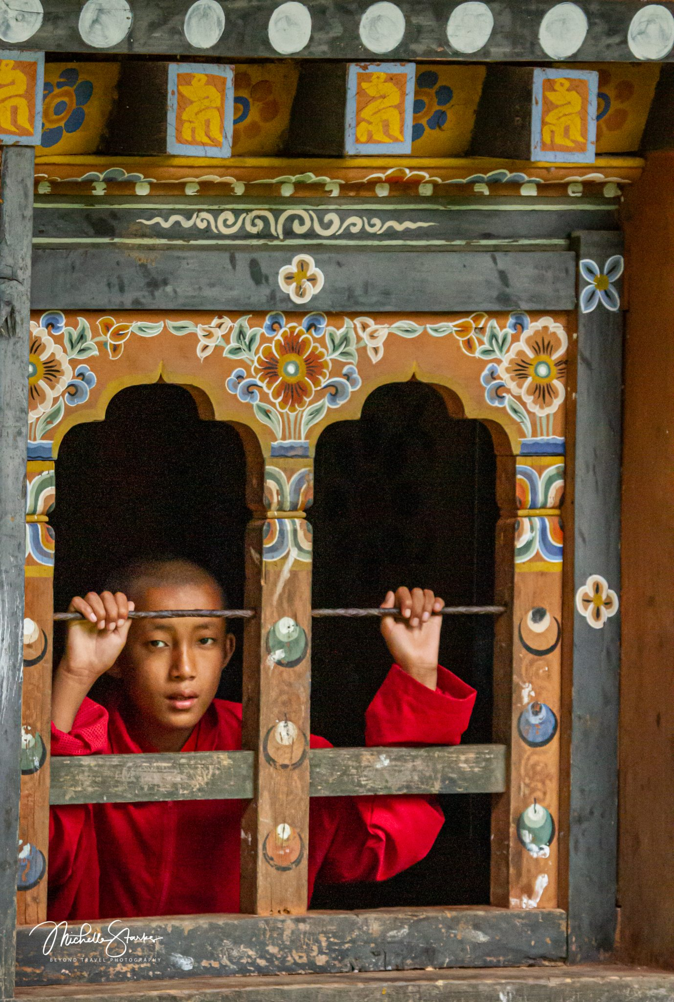Monk in a Window, Bhutan